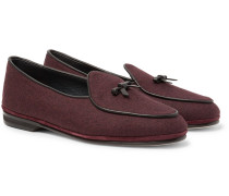 Marphy Leather-trimmed Mélange Flannel Loafers