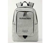 Logo-Print Leather-Trimmed Canvas Backpack