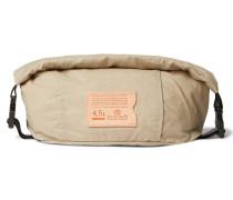 Logo-Appliquéd Leather-Trimmed Cotton-Ripstop Wash Bag