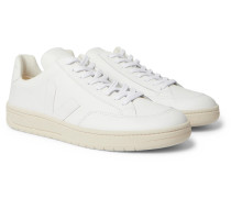 V-12 Suede-Trimmed Leather Sneakers