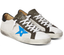 Superstar Distressed Mesh, Leather And Suede Sneakers