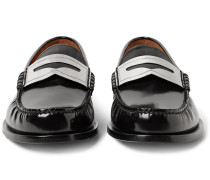 Polished-leather Penny Loafers