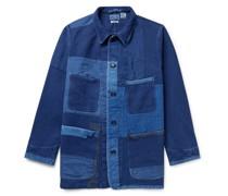 Sashiko Patchwork Indigo-Dyed Cotton Chore Jacket