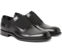 Elastic-trimmed Polished-leather Oxford Shoes