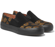 Faille And Jacquard Slip-on Sneakers