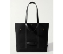 Leather-Trimmed Cotton-Canvas Tote Bag