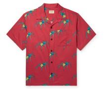 Aron Spiders Convertible-Collar Printed Organic Cotton Shirt