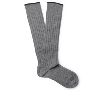 Contrast-tipped Ribbed Cashmere Over-the-calf Socks