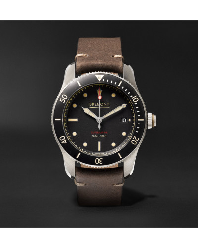 Supermarine Type 301 Automatic Chronometer 40mm Stainless Steel And Leather Watch - Black