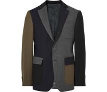 Slim-fit Colour-block Wool Blazer