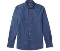 Aston Slim-fit Cutaway-collar Cotton-chambray Shirt