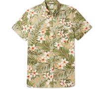 Button-down Collar Floral-print Cotton Shirt