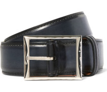 3.5cm Blue Classic Polished-leather Belt