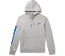 Logo-Embroidered Printed Mélange Fleece-Back Cotton-Blend Jersey Hoodie