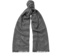 Fringed Herringbone Cashmere And Silk-blend Scarf