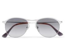 Aviator-style Matte Silver-tone Sunglasses