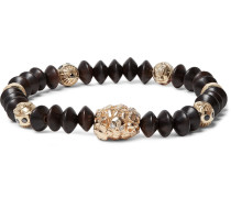 Wood And Gold Bead Bracelet