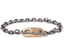 18-Karat Gold and Sterling Silver Diamond ID Bracelet
