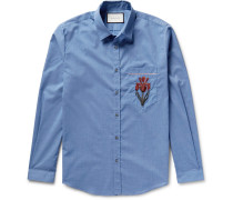 Slim-fit Embroidered Muslin Shirt