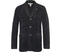Blue Contrast-stitched Cotton-corduroy And Twill Blazer