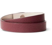 Pebble-grain Leather Wrap Bracelet