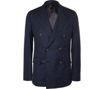 Navy Double-breasted Wool-hopsack Blazer