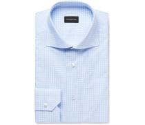 Blue Cutaway-collar Checked Cotton-poplin Shirt