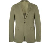 Green Slim-fit Garment-dyed Stretch-cotton Twill Blazer