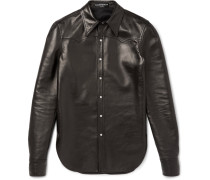 Slim-fit Leather Western Shirt