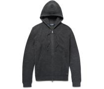 Waffle-knit Merino Wool Zip-up Hoodie