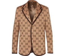 Camel Cotton-jacquard Blazer