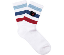 Embroidered Striped Stretch Cotton-blend Socks