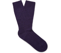 Waddington Ribbed Cashmere-blend Socks