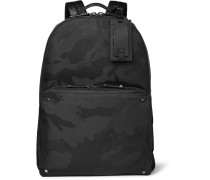 Leather-trimmed Camouflage-jacquard Shell Backpack
