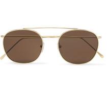 Mykonos Round-frame Gold-tone Sunglasses