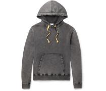 Slim-fit Distressed Bleached Loopback Cotton-jersey Hoodie