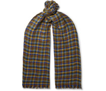 Fringed Checked Cashmere and Silk-Blend Scarf