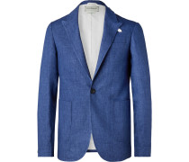Navy Brookes Slim-Fit Unstructured Linen Blazer