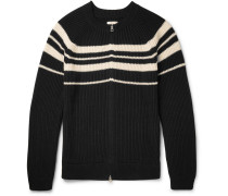 Striped Ribbed Cotton Zip-up Cardigan