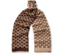Gg-patterned Wool And Silk-blend Scarf