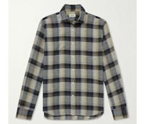Paul Cutaway-Collar Checked Cotton-Flannel Shirt