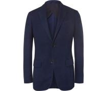 Blue Slim-fit Woven Cotton Blazer