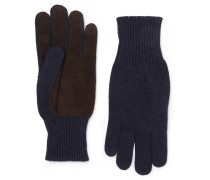Suede-panelled Cashmere Gloves