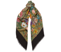 Fringed Printed Wool And Silk-blend Twill Scarf