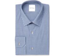 Blue Slim-fit Gingham Cotton-poplin Shirt