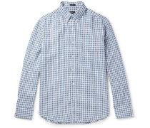 Slim-fit Button-down Collar Gingham Slub Linen Shirt