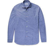 Alain Slim-fit End-on-end Cotton And Cashmere-blend Shirt
