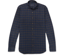 Slim-fit Cutaway-collar Checked Brushed-cotton Twill Shirt