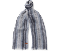 Striped Linen And Silk-blend Scarf