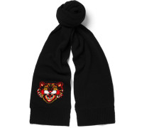 Angry Cat Intarsia Wool Scarf